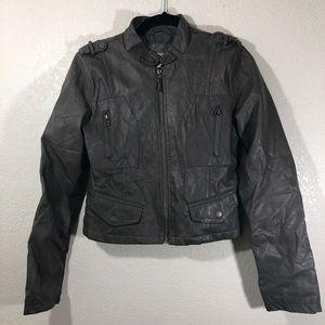 Paris Blues faux grey leather motto  jacket